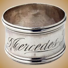 Towle Banded Napkin Ring Sterling Silver 1910 Inscribed