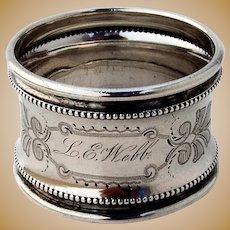 Beaded Engraved Napkin Ring Coin Silver Mono