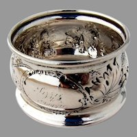 Repousse Grape Napkin Ring Coin Silver 1850 Inscribed