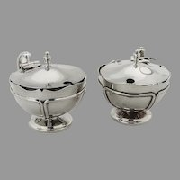 English Mustard Pots Pair Cobalt Glass Liners Adie Bros Sterling 1902