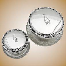 Matching Dresser Jars Pair International Sterling Silver Mono
