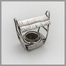 Japanese Figural Open Salt Glass Liner Sterling Silver