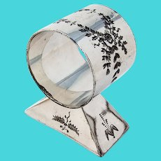 Engraved Foliate Napkin Ring Pedestal Base Silverplate