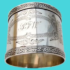 Engraved Coin Silver Napkin Ring Applied Ornate Border Mono