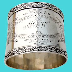 Engraved Coin Silver Napkin Ring Applied Border 1870 Mono