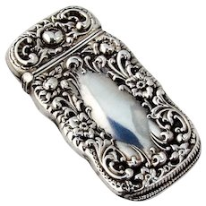 Art Nouveau Match Safe Box Sterling Silver Inscribed