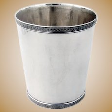 Gadroon Rosette Border Julep Cup Kinsey Coin Silver 1850
