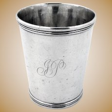 Banded Julep Cup Scovill Co Coin Silver 1830s Mono