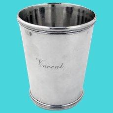 Beaded Rim Julep Cup Kinsey Coin Silver 1850 Mono