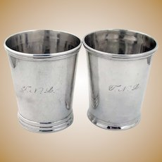Banded Julep Cups Pair Wilson Coin Silver 1850 Mono