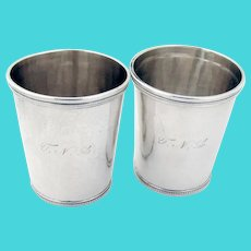 Beaded Julep Cups Pair Cook Sloss Coin Silver 1875 Mono