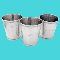 Beaded Rim 3 Julep Cups Set Cook Sloss Coin Silver 1875 Mono