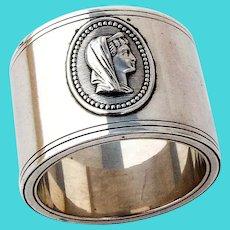 Female Medallion Napkin Ring Double Wall Coin Silver Mono