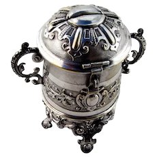 Ornate Baroque Offering Box Continental Silverplate 1850