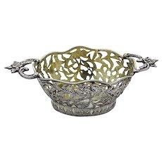 German Cutwork Engraved Sweet Meat Basket 800 Silver 1880