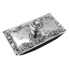 Gorham Rose Scroll Ink Blotter Sterling Silver 1900s Mono