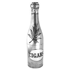 Engraved Champagne Bottle Form Cigar Humidor Silverplate 1890