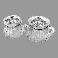 Beaded Creamer Sugar Bowl Set Cut Glass Reddal Co Sterling Silver