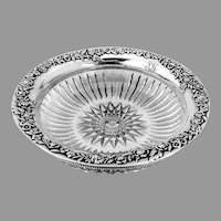 Floral Beaded Bowl Cut Glass Redlich Co Sterling Silver 1900 Mono