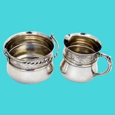 Mermaids Creamer Sugar Bowl Set Schulz Fischer Sterling Silver 1880