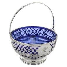 Cutwork Sugar Basket Cobalt Liner Watson Sterling Silver Mono