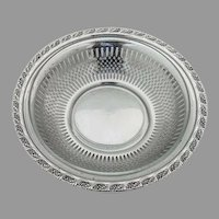 Ornate Rim Cutwork Bowl Glass Liner Frank Whiting Sterling Silver