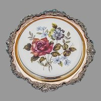Wallace Baroque Trivet Floral Ceramics Silverplate