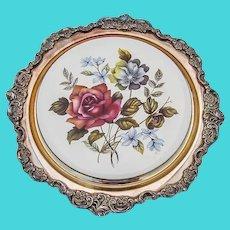 Wallace Baroque Trivet Floral Ceramics Silverplate