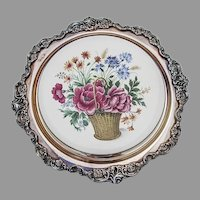 Wallace Baroque Trivet Flower Basket Ceramics Silverplate
