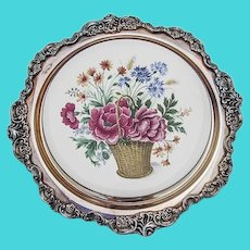 Wallace Baroque Trivet Flower Basket Ceramics Silverplate