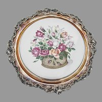 Wallace Baroque Trivet Rose Basket Ceramics Silverplate