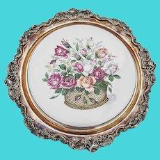 Wallace Baroque Trivet Rose Basket Ceramics Silverplate