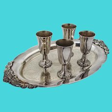 Wallace Baroque Cordial Cups Oval Tray Set Silverplate