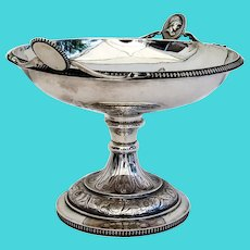 Medallion Footed Compote Wood Hughes Coin Silver 1860