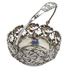 German Openwork Ginkgo Basket Swing Handle 800 Standard Silver
