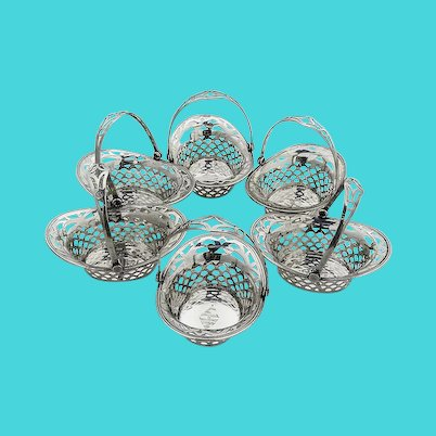 Small Cutwork Baskets Set Webster Sterling Silver Mono