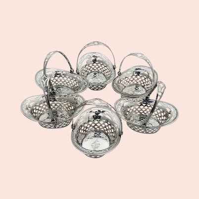 Small Cutwork Baskets Set Webster Sterling Silver Mono