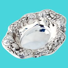 Art Nouveau Floral Bowl Gorham Sterling Silver 1903 Date Mark