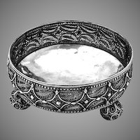 Continental Filigree Bowl Ball Feet Sterling Silver