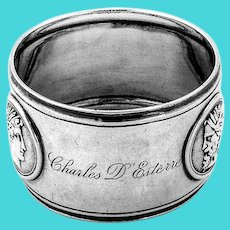 Triple Medallion Napkin Ring Coin Silver 1860 Inscribed