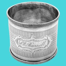 Wide Engine Turned Napkin Ring Coin Silver 1870 Inscribed