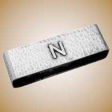 Large Hammered Napkin Ring Lebolt Sterling Mono N