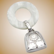 Birth Record Baby Rattle Teething Ring WEB Sterling Silver 1960