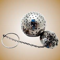 Watrous Tea Ball Hinged Scroll Lid Sterling Silver