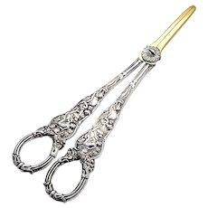 Victorian Ornate Grape Shears Gilt Blades Sterling Silver 1890