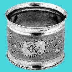 Matte Finish Engraved Napkin Ring Coin Silver Mono