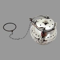 Teapot Form Tea Ball Sterling Silver 1930