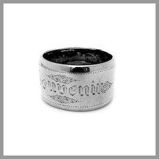 Dutch Large Engraved Souvenir Napkin Ring 835 Silver Mono