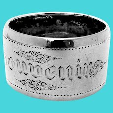 Dutch Large Engraved Souvenir Napkin Ring 835 Silver Mono