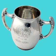25 Anniversary Loving Cup Gorham Sterling 1892 Date Mark